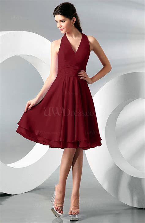 dark red simple   halter zip  chiffon bridesmaid