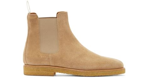 common projects suede chelsea boots in beige for