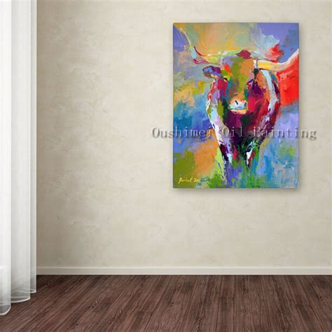 how to hang canvas art aliexpress com buy hand painted modern bull animals oil