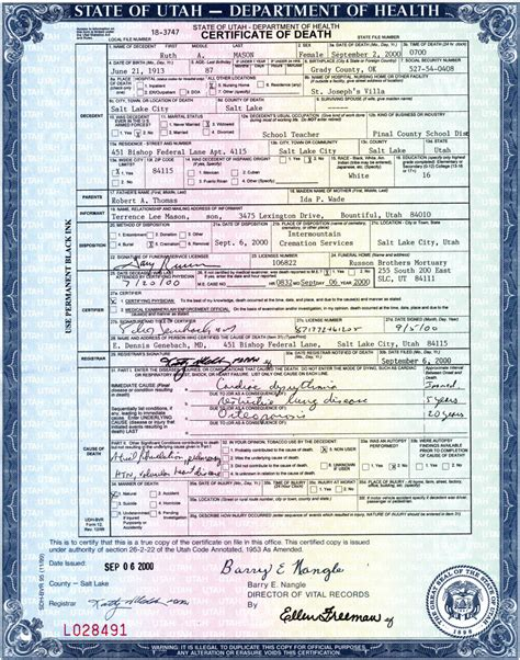 Utah Vital Records Marriage Certificate Source Citations Pafc01 Generated By Ancestral Quest