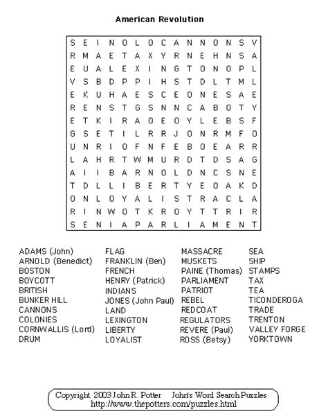 An American Crossword Puzzle American Revolution Puzzle American Revolution American Revolution Word Search