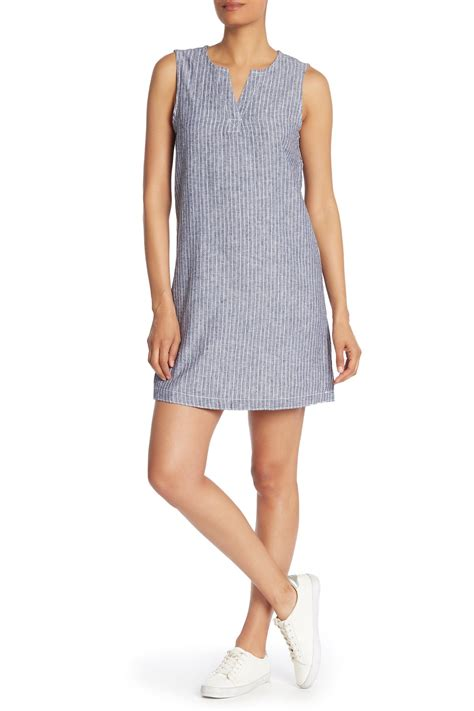 beachlunchlounge split neck striped linen blend dress nordstrom rack