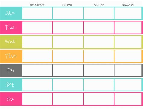 printable food diary calendar little housewife hints and tips meal planning pinteres