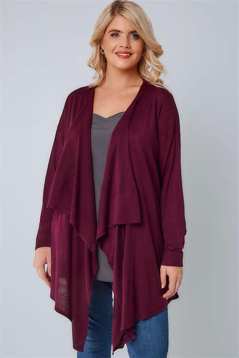 burgundy knit cardigan burgundy knit edge to edge waterfall cardigan