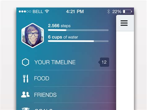 ios top bar side menu and status bar in ios7 by tina tavčar dribbble