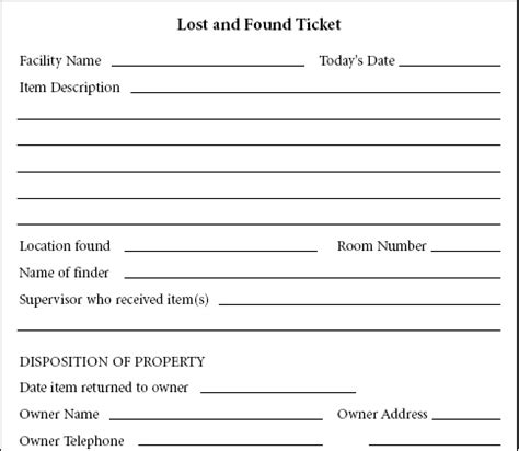 Lost And Found Form Lost Found Pinterest Lost And Found Email Template