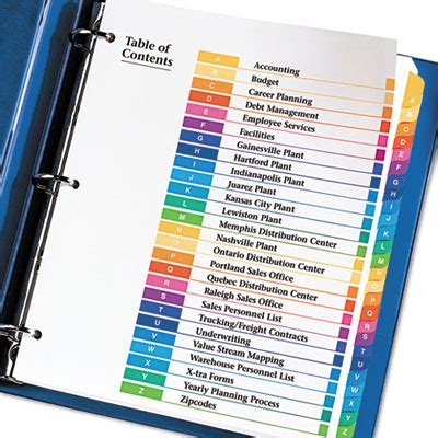 Ave 11125 Avery Ready Index Customizable Table Of Contents Multicolor Dividers 26 Tab Letter Avery 11370 Template
