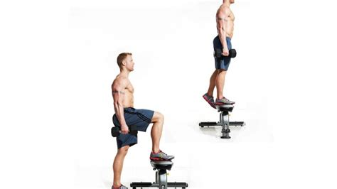 bench step ups with dumbbells dumbbell step up men s fitness