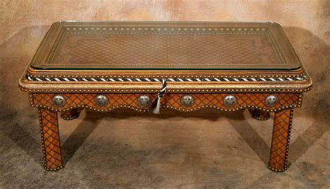 Western Coffee Tables Tacked Leather Western Coffee Table