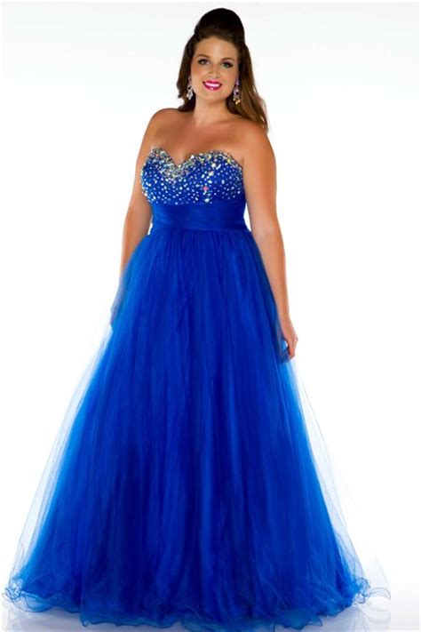 plus size beaded dress a line princess sweetheart royal blue tulle beaded