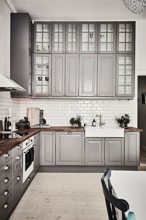 Black And Grey Kitchen Cabinets Grey White Kitchen Design Idea With L Shaped Layout Home Improvement Inspiration
