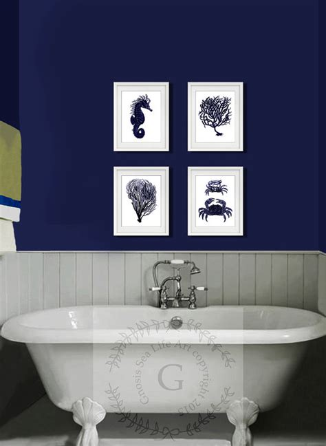 white and blue wall decor navy blue and white wall set of 4 sea coral