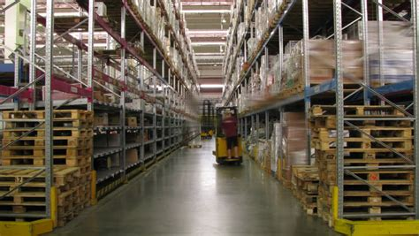 forklifts moving in a warehouse stock footage 232630
