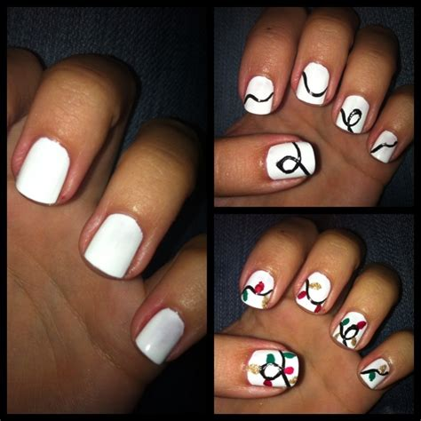 String Nails - diy manicure of the week string of lights chagne