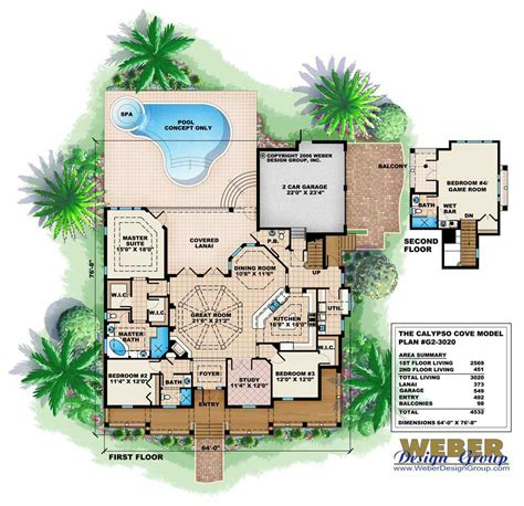 how to design home layout florida style house plan 4 bedrms 3 5 baths 3020 sq