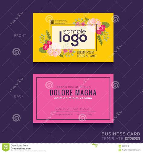 design name card cute floral pattern business card name card design stock