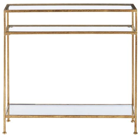 narrow glass console table home decorators collection aged gold narrow glass