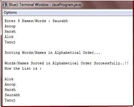 String Program - java program sort string order letters java letter sle