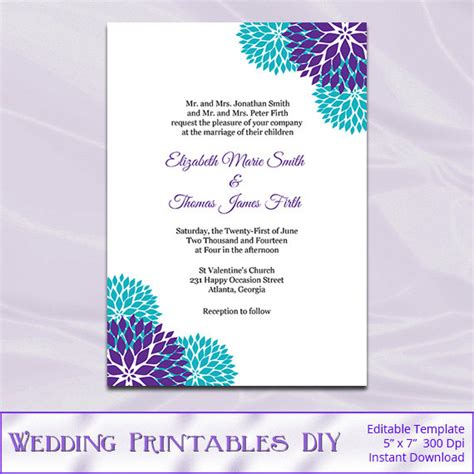 invitation card design with editable purple teal wedding invitation template diy garden floral