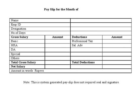 free salary slip format in word pdf excel templates