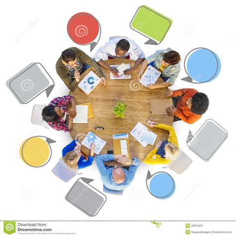 diverse group of people around table stock illustration