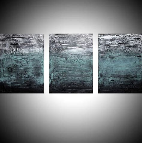 large artwork quot turquoise triptych quot abstract artists triptych art on canvas