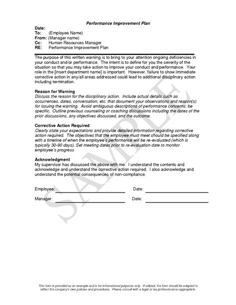 performance write up template professional performance improvement plan template exle