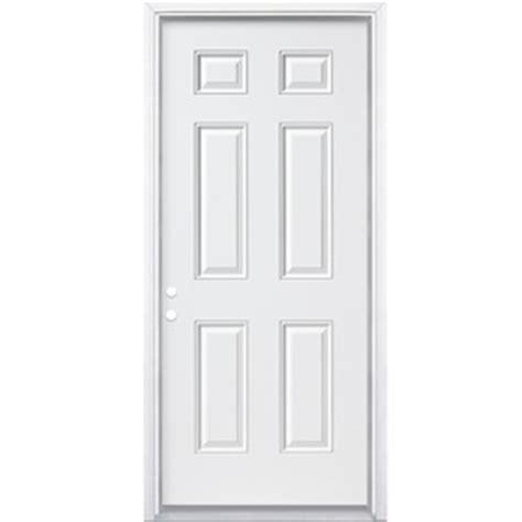 30x78 Exterior Door Shop Masonite 6 Panel Right Inswing Primed Steel Primed Prehung Entry Door Common 30 In X