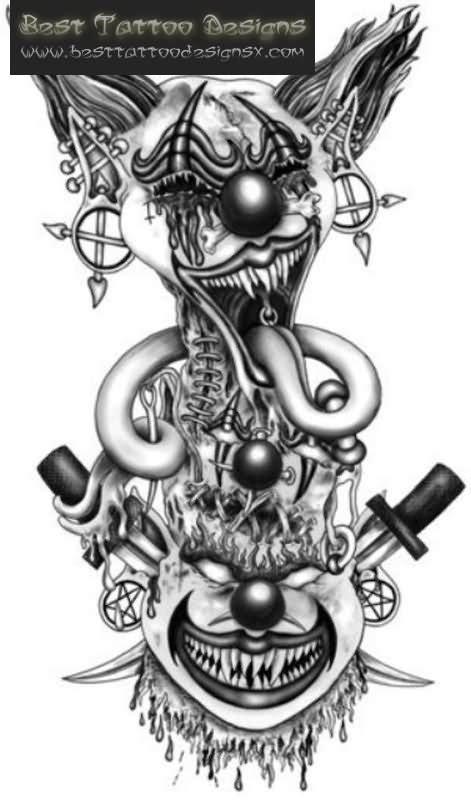 40 Best Clown Tattoo Designs Tattoos Of Evil Clowns