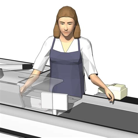 Female Cashiers 3D Model   FormFonts 3D Models & Textures
