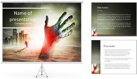 Zombie Themes For Powerpoint | zombie rising a hand rising from the ground powerpoint