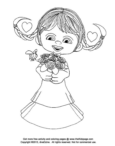coloring pages flower girl bee mine flower girl free valentine s day coloring pages