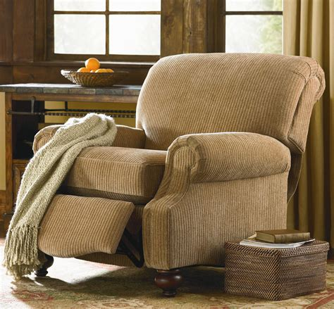 bassett club room recliner with exposed wood dunk