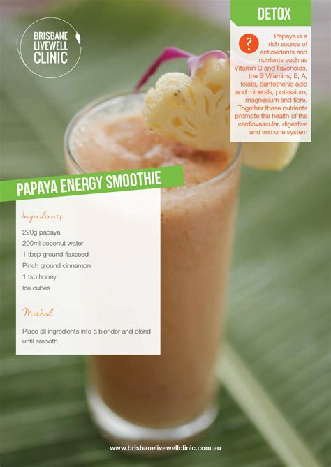 Detox Clinics Brisbane by Smoothie Of The Week Papaya Energy Smoothie Brisbane
