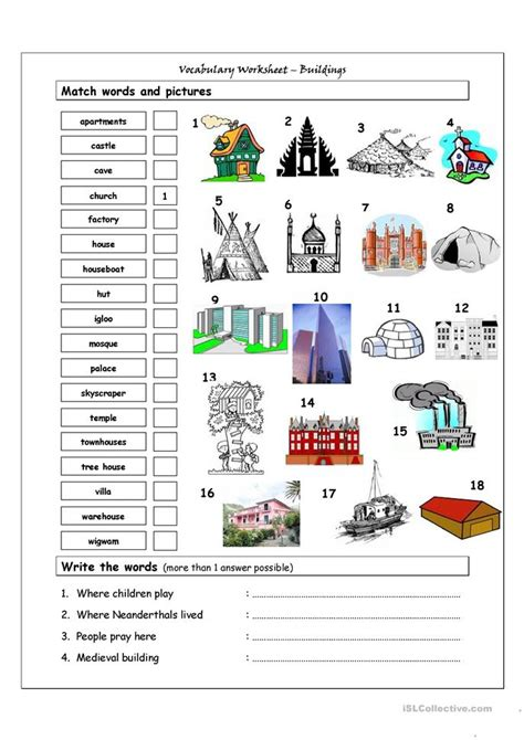 Vocabulary Matching Worksheet by 49 Free Esl Houses Worksheets
