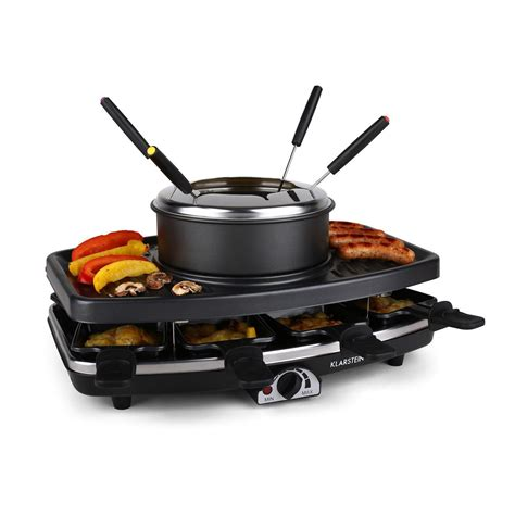Raclette Grill Mit Fondue by Raclette Grill Anti Adhesif Appareil A Fondue 8 Poelons