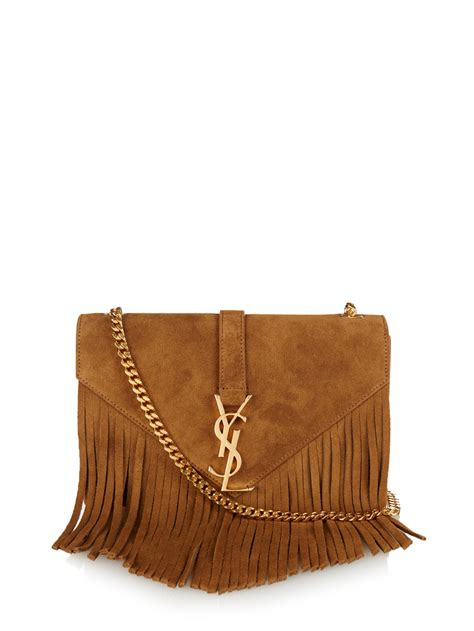 lyst saint laurent monogram fringed suede shoulder bag