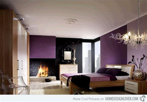 dark bedroom black walls chandelier fireplace purple 20 modern bedroom with fireplace designs home design lover