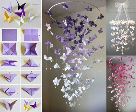 How To Make Paper Decorations For Your Room - butterfly chandelier mobile diy tutorials
