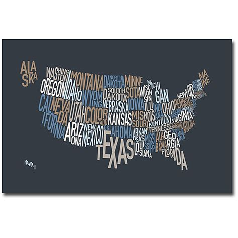 trademark quot united states text map iii quot canvas wall