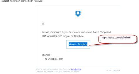 dropbox email dropbox phishing email exle