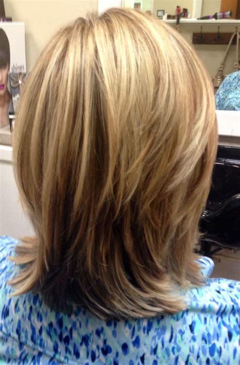 tri color highlights on shoulder length hair stylist highlights lowlights cut medium length layers stylist