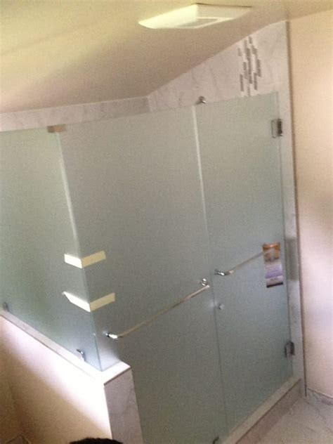 Frameless Shower Door With 3 8 Quot Satin Etched Glass For Privacy For Shower Doors