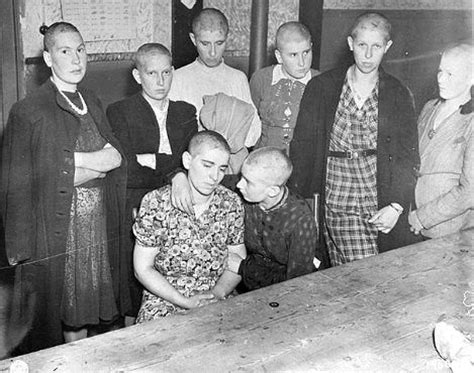 french female nazi collaborators with shaved heads marched quot women accused of collaborating with the germans wait to