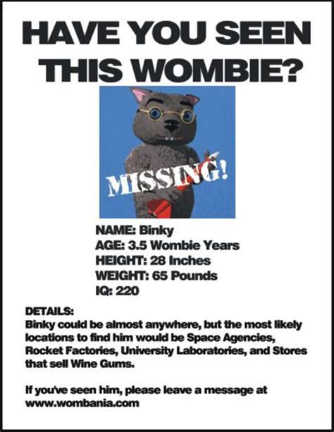 wombania missing binky