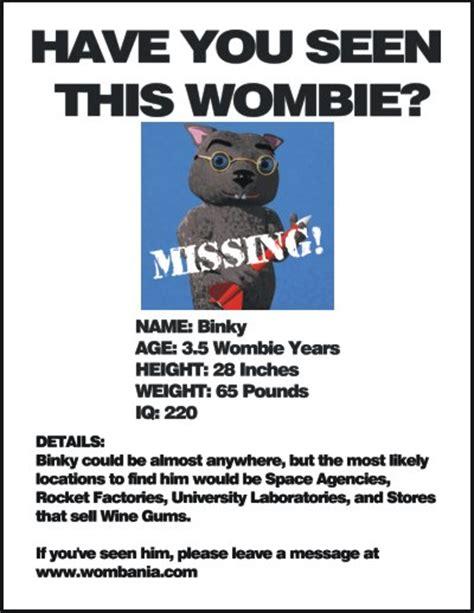 missing poster wombania missing binky
