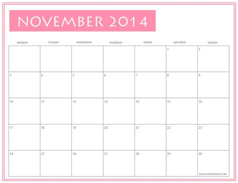 printable calendar 2014 november free printable november 2014 calendars by shining mom