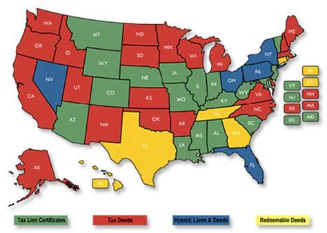 tax deed states map tax lien facts ustaxlienassociation