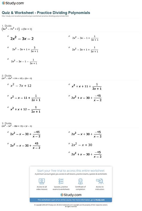 Polynomial Division Worksheet by Dividing Polynomials Worksheet Lesupercoin Printables