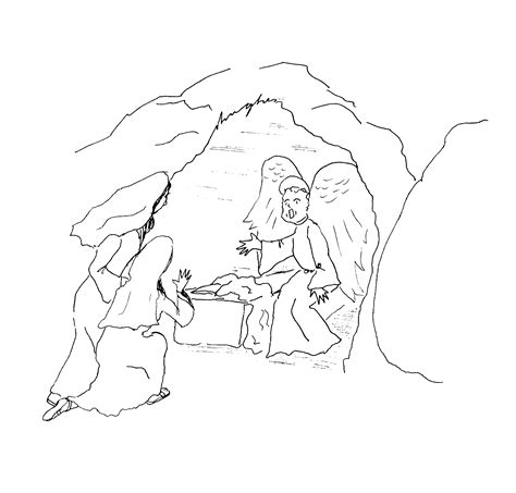 empty tomb coloring pages preschool the resurrection mary and mary magdalene and an angel at